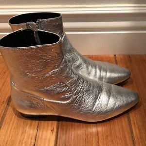 Zara Metallic Silver Zip Up Booties